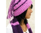 SALE 30% OFF - Hat Scarf Set, Funky Braids Hat Bright Bubblegum Pink and Plum, Alpaca Merino Wool