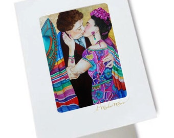 Greeting Card, Frida Kahlo Art Card, Fine Art Card, Mexican Cards, Their Kiss - Frida Kahlo and Diego Rivera