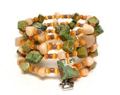 PEACHES AND JADE Coil Beaded Bracelet by Beading Divas Fundraiser
