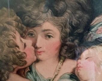 Guardian Angels Engraved Print . 1786 . Antique Frame