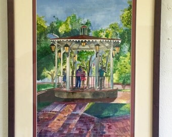 """Original """"Albuquerque August"""" Fully Framed Water color Painting"""