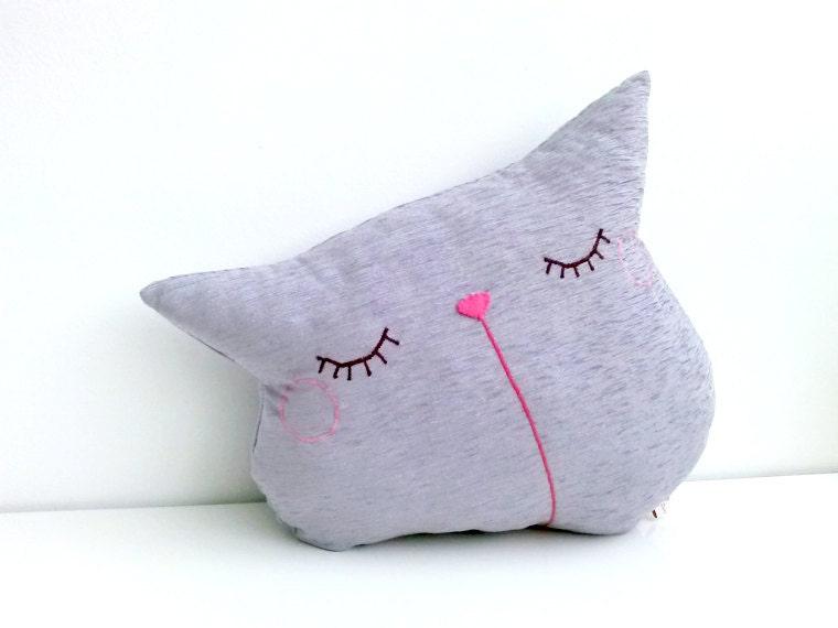 Cat throw decorative pillow travel sofa pillow cushion purple