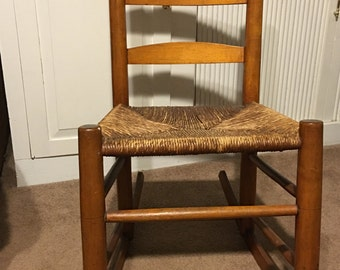Antique Petite Ladder Back Shaker Rocking Chair with Rush Seat...