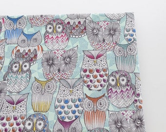 Retro Colorful Floral Stripe Wave Feather Seashell Hoot Owl On Pale Mint - Fleece Brushed Cotton Fabric (1/2 Yard)