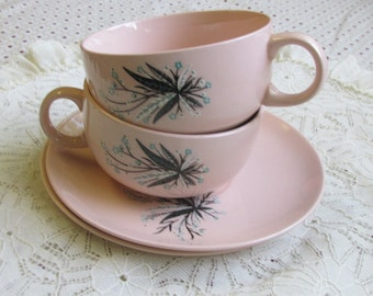 2 sets vintage pink teacups & saucers Crooksville USA Tea for Two feather flower