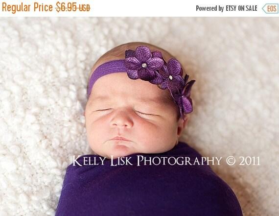 SUMMER SALE Baby Headband - Newborn Headband - Purple Headband - Toddler Headband - Purple Triple Dainty Flowers on Stretch Headband - Photo