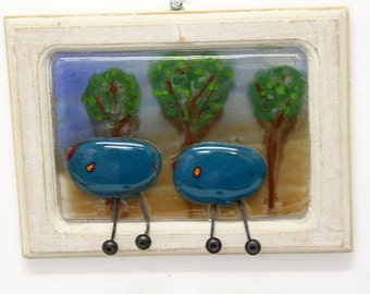 Fused Glass Painting  - blue birds  bird  landscape 3d painting on glass