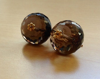 Faceted Bear Quartz Rounds on Gold Fill French Hooks