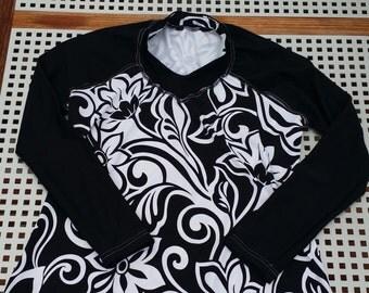 LGW Woman's  Black and white floral swirls Rashguard (size 16)