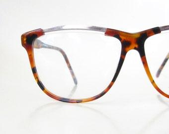 Tortoiseshell Wayfarer Womens 1980s Oversized Eyeglasses Glasses Optical Frames Glam Rocker 80s Huge Eighties Gold Metallic Ladies Sunnies