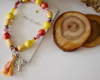 Bracelet Yellow tree bois jaune nature zen bohème