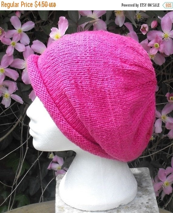 HALF PRICE SALE Knitting Pattern digital pdf download - Silky Roll Brim Slouch Beanie Hat pdf download knitting pattern
