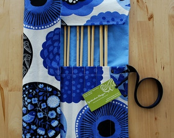 ALMOST GONE Knitting Needle Case / Organizer / Holder for Straight Needles - Blue & White Sparrows Fabric with Periwinkle Lining