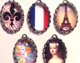 TRIBUTE to FRANCE Handmade Photo Charm Set-French charms-France Charms-Eiffel Tower Charms-Flag Charms-International Charms-Marie Antoinette