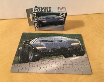 Vintage LAMBORGHINI COUNTACH Car Mini Jigsaw Puzzle 5x7 Complete Small 54 Piece Fink USA