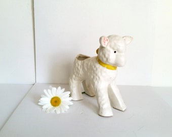 Vintage Lamb Planter . Antique White Sheep Flower Pot . Indoor Gardening . Garden Decor .Nursery .  Cream Ivory .