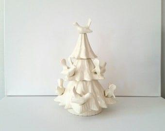 Vintage White Ceramic Tree . Cream Birds in Tree . Candle Holder . Christmas Decoration .  Winter Woodland