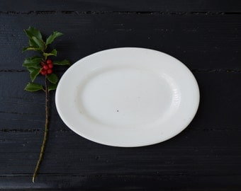 One Small White Ironstone Platter . Antique Greenwood China . Serving Plate .