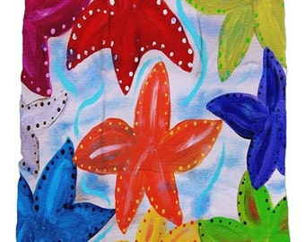 Colorful starfish tufted chair cushions from my art