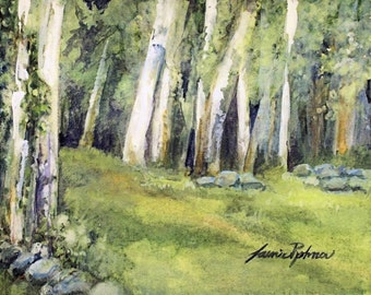 Woodland Landscape Watercolor Original Painting Spring Fields Nature Art Print