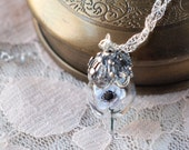 RESERVED White and Black Anemone Flower Terrarium Glass Vial Necklace by Woodland Belle