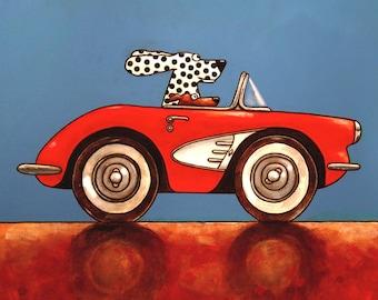 032 Corvette - folded art card 15x15cm/6x6inch with envelope