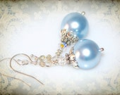 Baby Blue Pearl Dangle Earrings. Something Blue Bridal or Bridesmaid Jewelry