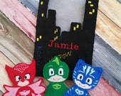 Set of Three PJ Masks Inspired Finger Puppets with Personalized Storage Bag