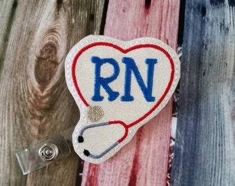 RN Sparky Heart with Stethescope  Badge Reel - Retractable Badge Reel -  gift for nurse - registered nurse  - RN - name badge holder