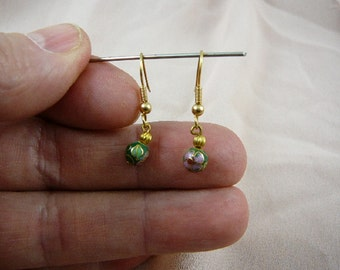 Green with pink flower 6 mm round Cloisonne one bead gold dangle earring pair EE-600-3