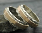 Wedding Ring Set- Hammered Sterling Silver and Recycled Yellow 14k Gold Wave Ring- Custom Made