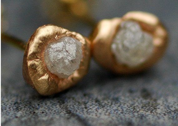 ON SALE Ready to Ship:  Raw Diamonds in Reticulated 14k Yellow Gold Post Earrings- Limited Edition