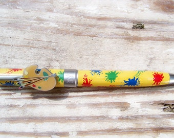 Art, Artist, Painter, Palette, Collectible, writing pen, 80s, 90s, Novelty, New in box, Old Stock, retro, journaling