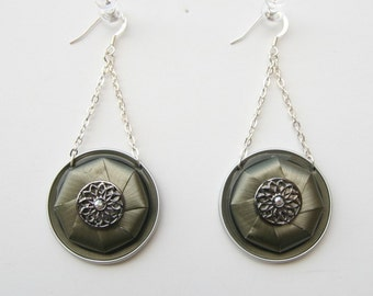 Mixed Media Long Earrings - Nespresso jewelry, Recycled, Upcycled, Eco friendly coffee capsules necklace.