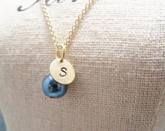 Deep Blue Pearl and Initial Necklace... Bride... Bridesmaid... Minimalist... custom personalized