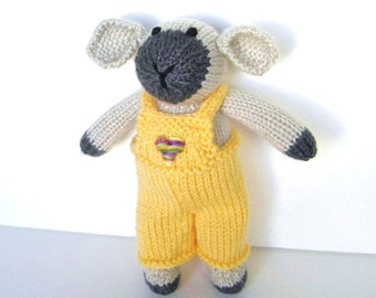"""Hand Knitted Lamb, New Baby Gift, Ready To Ship, Stuffed Animal, Farm Nursery Toy, Knit Animal Toy Toddler Gift Knit Toy Plush Doll 9"""" Tall"""