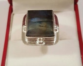 Sterling Silver and Labradorite Square Cabochon Ring Size 7