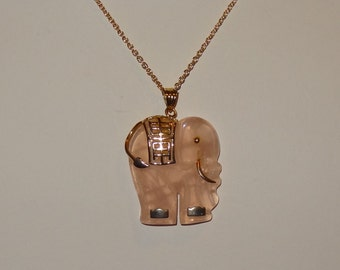 Vintage 14k Yellow Gold and Rose Quartz Elephant Pendant Necklace