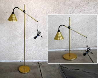 Vintage Brass Finish Floor Lamp with Adjustable Stand. Convertible to Floor or Table Size. Circa 1960's.
