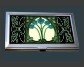 Business Card Case - featuring an Art Nouveau Tile (Forget Me Nots)