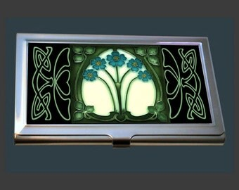 Business Card Case - featuring an Art Nouveau Tile (Forget Me Nots)