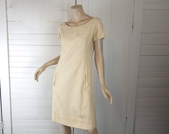 60s Ivory Dress Floral Brocade- 1960s Mod Cotton Dress- Butter Yellow- Short / Casual Wedding Dress- Small / Medium- Short Sleeves Wide Neck