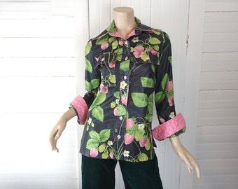 70s Strawberry Print Blouse- Gunmetal Gray, Pink, Lime Green- 1970s Metallic Silver Shirt- Cute Disco- Polka Dots