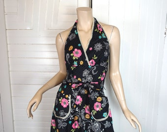 70s Halter Dress / Jumper in Black & Hot Pink Floral- 1970s Maxi Dress + Matching Blouse