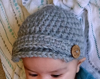 Baby Newsboy Beanie, Newborn Photo Prop, Baby Hat, Baby Crochet Hat, Crochet Newsboy Hat