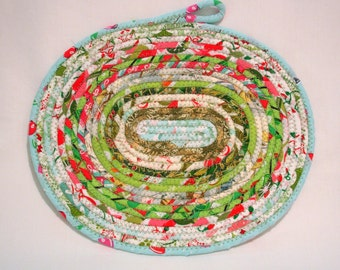 Hard Candy Christmas Coiled Fabric Candle Mat, Table Mat