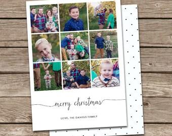 Photo Christmas Card Template: Simple Cursive Merry Christmas or Happy Holidays Custom Photo Holiday Card Printable