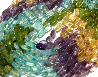 Mixed gemstone smooth ovals full strand peridot citrine anethyst and quartz