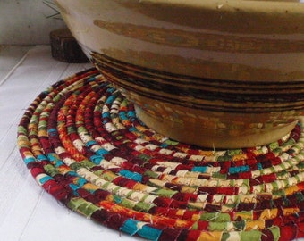 Coiled Fabric Hot Pad, Trivet, Table Mat - Deep Colors, Maroon, Turquoise, Red Green - LARGE ROUND - Handmade by Me
