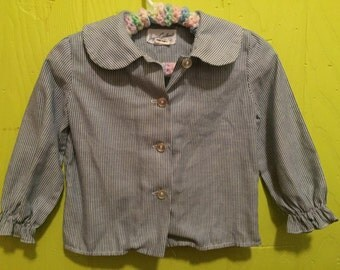 Vintage Striped Peter Pan Collar Blouse